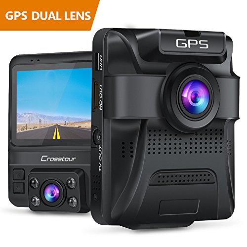 Uber Dual Lens Dash Cam Built-in GPS in Car Dashboard Camera Crosstour 1080P Front and 720P Inside with Parking Monitoring, Infrared Night Vision, Motion Detection, G-Sensor and WDR by Crosstour (Image #9)