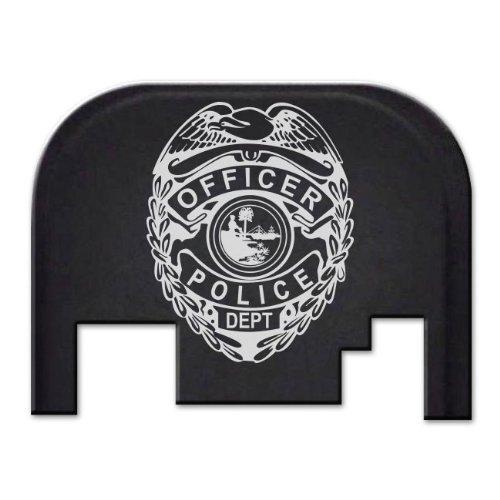 Billet Badge (BASTION Laser Engraved Rear Cover Slide Back Plate for Glock - See Description for Model List. Gen 1-4 only, not Gen 5. Does not fit Glock 42 or 43 Models. Police Badge)