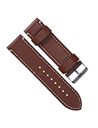 24mm Vintage Genuine Leather Silver Buckle Watch Strap/Watch Band (White Stitch/Coffee)