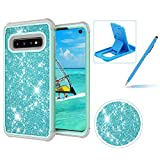 Mint Green Shockproof Case for Samsung Galaxy S10,Herzzer Stylish 3 in 1 Glitter Heavy Duty Drop Proof Tough Rugged Impact Defender Full Body Case