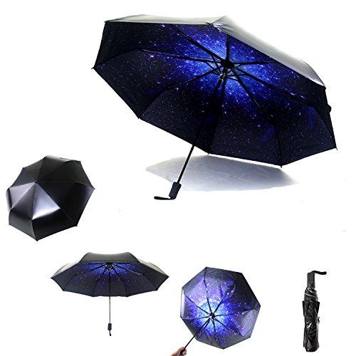 ASpoorts Sun&Rain Travel Umbrella - Compact Mini Umbrella with 99% UV Protection, Lightweight Portable UPF> 50 Parasol, 8-Ribs Waterproof Windproof 210T Fabric Canopy - Outdoor Folding Golf Umbrella
