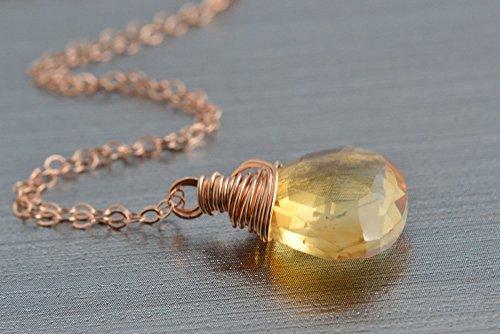 Citrine Rose Gold Necklace, 14K Rose Gold Filled - 14k Rose Gold Citrine Pendant