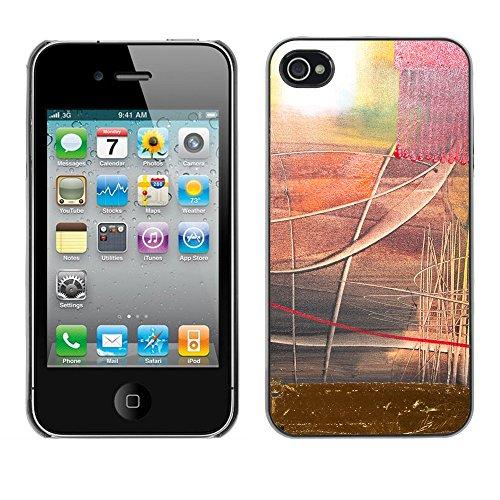 Premio Sottile Slim Cassa Custodia Case Cover Shell // V00001924 Peinture abstraite // Apple iPhone 4 4S 4G