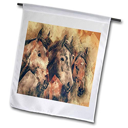3dRose Lens Art by Florene - Watercolor Art - Image of Three Majestic Brown Horses in Watercolors - 12 x 18 inch Garden Flag (fl_306892_1)