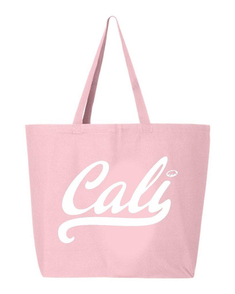 shop4ever CaliホワイトヘビーキャンバストートバッグCalifornia再利用可能なショッピングバッグ10オンスジャンボ 25 oz ピンク EGYT_1215_CaliWhite_TB_Q600_L Pink_2 B06XNZLNSP  ライトピンク