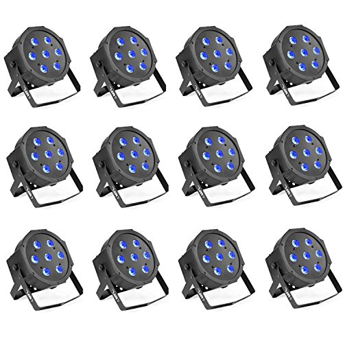 Par Lights, MFL. 7X10W RGBW Stage DJ Lighting LED DMX Par Can Light Party Lights DJ Disco Lights Wash Effect Sound Activated Modes for Party Wedding Church 12pcs by MFL.