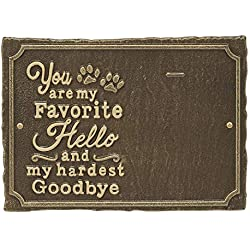Whitehall My Favorite Hello Pet Photo Wall Sign - Decorative Keepsake Plaque with Animal Paw Prints and Picture Clip - Antique Brass
