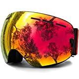 JULI OTG Ski Goggles,Frameless Over Glasses Skiing Snow Goggles for Men Women & Youth - 100%UV Protection Dual Lens (Black Frame+VLT 25.4% Brown Len with REVO Red)