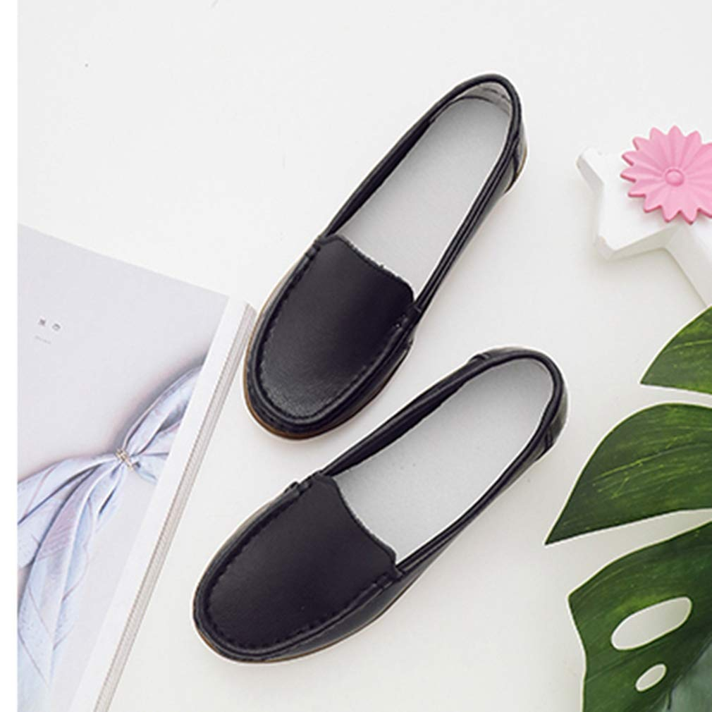 August Jim Women Leather Shoes,Round Toe Slip on Casual Flat Shoes Black