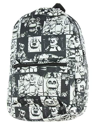 Five Nights at Freddy's Black & White Characters All Over Print Backpack ()
