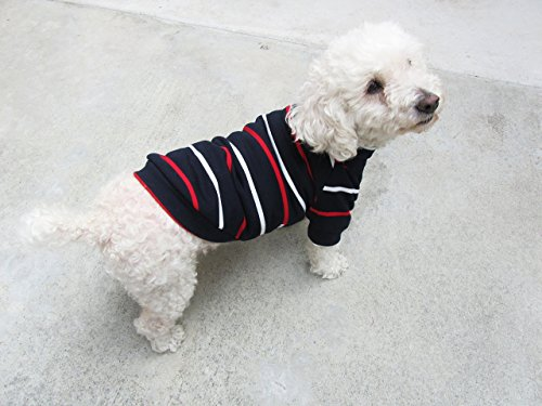 Navy Striped Turtle Neck Raglan Top, Winter Dog Top, Dog Clothing, Dog Apparel
