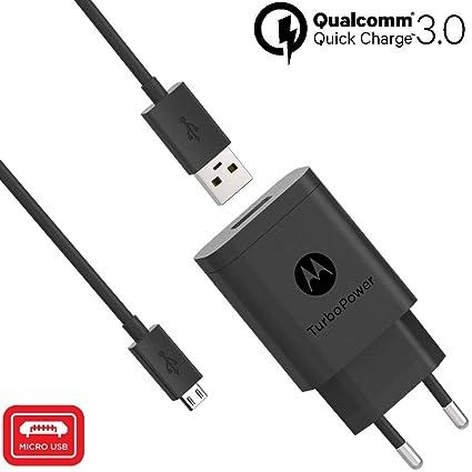 Motorola Original- TurboPower 18W Cargador de pared con SKN6461A 3.3ft (1m) Cable micro USB en caja de venta al por menor con etiqueta de ...