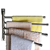 Bathroom Kitchen Towel Rack Holder with 4 Bars, Wall Mounted, Stainless Steel, Brushed Nickel