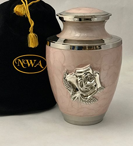 Human Adult Size Pink Rose Cremation Urn, Large Rose Flower Funeral Urn, Container, Burial urn with Velvet Baag -