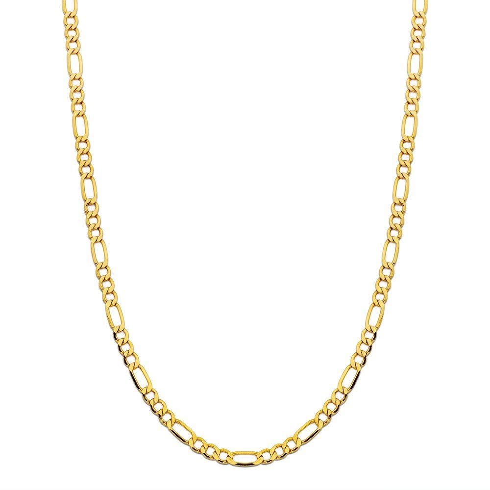 14K Yellow Gold 4.0mm Figaro Link Chain Necklace- Made In Italy- Multiple Lengths Available (22)