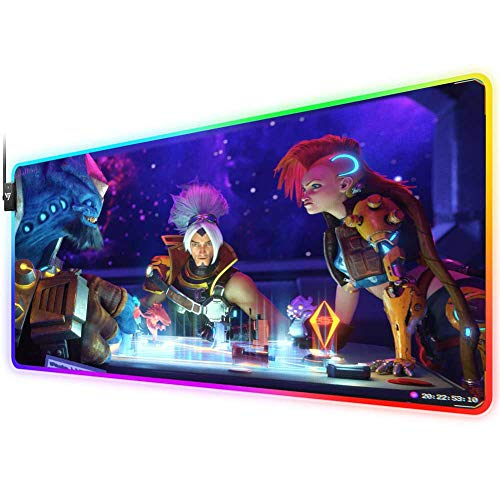 RGB Gaming Mouse Pad for League of Legends,LED Soft Extra Extended Large Mouse Pad,Anti-Slip Rubber Base,Computer Keyboard Mouse Mat 31.5 X 12 Inch(Odyssey Yasuo malphite Jinx)