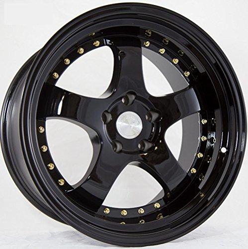 (Aodhan Wheels AH03: 16x8, 4x100, 73.1, 15, (FULL BLACK (GOLD RIVET)))