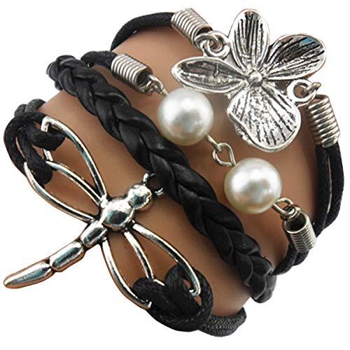 (ACUNIONTM Handmade Dragonfly Flower Charm Friendship Gift Fashion Jewelry Personalized Leather Bracelet - Black)
