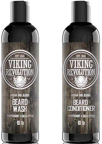 Viking Revolution Beard Wash & Beard Conditioner Set w/Argan & Jojoba Oils – Softens, Smooths & Strengthens Beard Growth – Natural Peppermint and Eucalyptus Scent – Beard Shampoo w/Beard Oil (10 oz)
