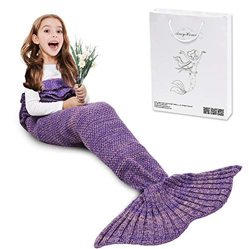 (AmyHomie Mermaid Tail Blanket, Crochet Knitting Mermaid Blanket, Mermaid Tail Blanket for Kids All Seasons Sleeping Blankets for Girls (55x28in Purple))