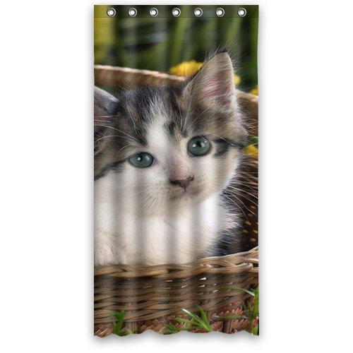 """Cute Kitten in baske Shower Curtain 48""""x72"""""""