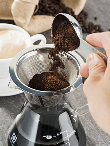 Apace Living POUR OVER COFFEE MAKER (400 ml / 13.5 oz) and Coffee Scoop – Coffee Dripper with Glass Carafe & Permanent Stainless Steel Mesh Filter (1-3 Cup Size)