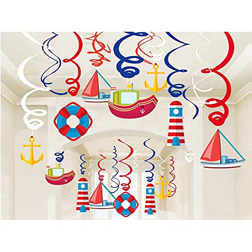 Kristin Paradise 30Ct Nautical Hanging Swirl Decorations, Ahoy Boy Birthday Ceiling Streamers, Baby Shower Theme, Sailor Party Supplies, Cruise Kids Favors, Anchor Sailboat Yacht 1st First Bday Decor ()