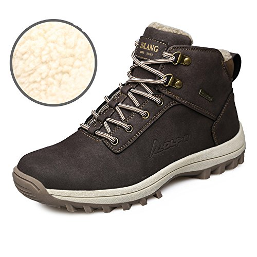 YZHYXS Men's Boots Winter Waterproof Leather Outdoor Hiking Shoes Black Brown