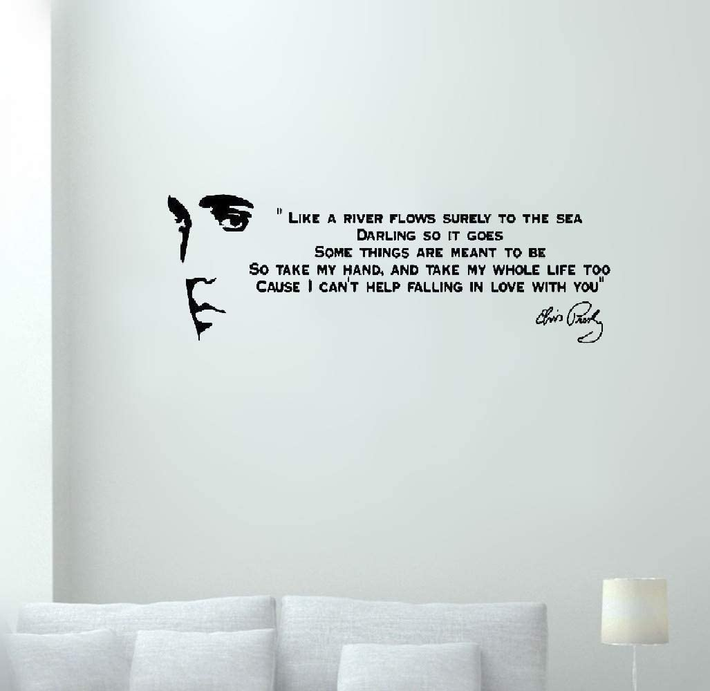 Wall Stickers Funny Quote Like A River Flows Elvis Presley Song Lyrics For Living Room Bedroom Amazon Co Uk Diy Tools