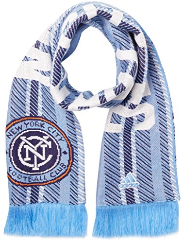 adidas MLS New York City FC Jacquard Scarf with Block Name, One Size, (New York Ny City Flag)