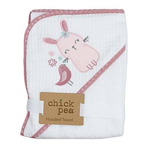 - Chick Pea Woven Terry Hooded Towel- Pink Bunny