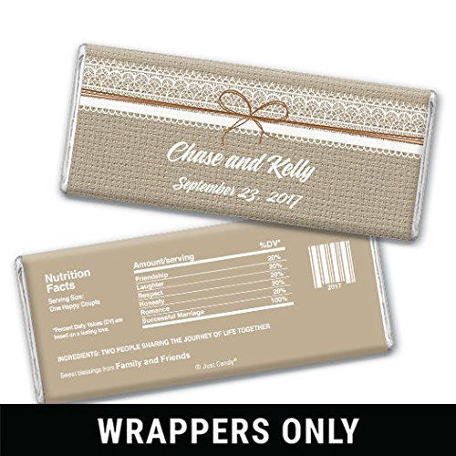 Wedding Favors Custom Burlap Amp Lace Wrappers For HERSHEYS Milk Chocolate Bars 25 Wrappers