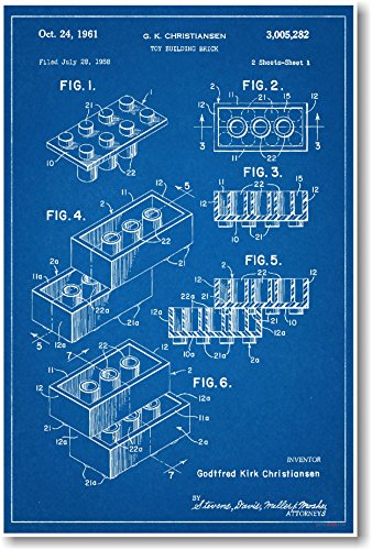 Lego Brick Patent - NEW Famous Invention Blueprint Poster