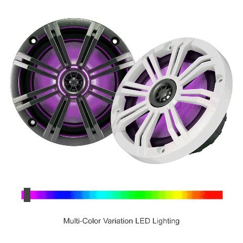 2- Pair (4-Speakers) With Multi Color LED Lights Kicker 6.5'' 195W Marine Audio Coaxial Stereo , Charcoal Grills