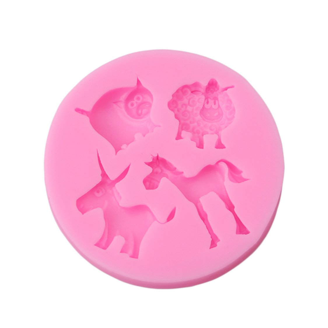 Idiytip Silicone Fondant Cake Icing Sugarcraft Decorating Mold Tools Chocolate Cake Jelly Candy Baking Mould 4 Holes Pink Animal QingYing