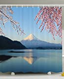 Ambesonne Spring Decor Shower Curtain, Cherry Blossoms Sakura Snowy Mountain Fuji Lake View Picture Print, Polyester Fabric Bathroom Set with Hooks, 69 X 70 inches, Blue Pink and White