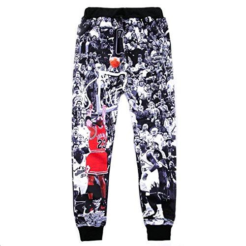 TM Men's Casual Sports Jordan Print Elastic Waist Long Sweatpants XL Black