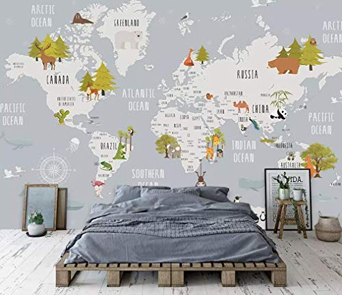 Murwall Kids Map of The World Nursery Wallpaper Animal Wall Murals Boys Bedroom Girls Bedroom Kindergarten Wall Decor Baby ()