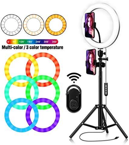 リングライトフロアスタンド、写真撮影のビデオ録画メイクライブストリーミングリング照明用調光可能2700K-6500K LEDリングライト自分撮りテーブルリングライト (Color : White, Size : 10 inch C)
