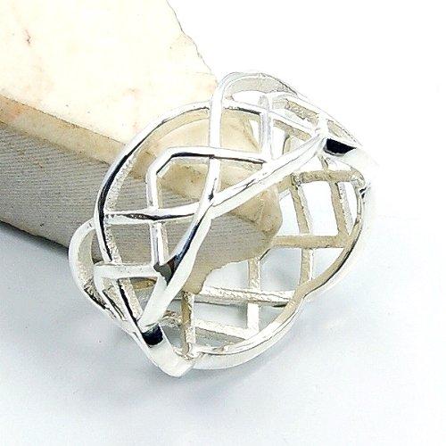 Basketweave Band Ring - Basketweave Design Solid Sterling Silver Band, Ring, Size 5.5