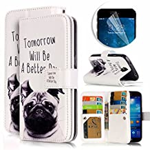 Samsung Galaxy S4 Case, Luxury Dual Wallet Case [9 Card Holder] Premium PU Leather Multifunctional Embossing Pattern Book Style Magnetic Flip Stand Feature Cover Slim Protective Money Pocket Bumper - Dog