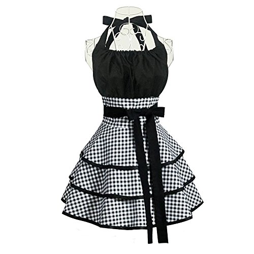 Aprons for Women Girls Plus Size,Retro Vintage Cooking Aprons with Pockets & Extra Ties, Kitchen Aprons for Baking Apron Dress - 22x30 inch (Black)