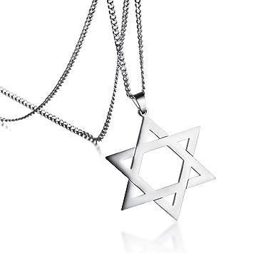FZUNDX Colgante De Estrella De David Tradicional para Hombre ...