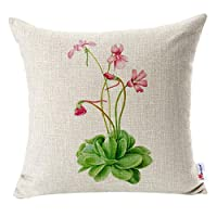 Monkeysell pillow cover Retro Flowers Butterfly Patterns Cotton Linen Decorative throw pillow covers Pillow Case Cushion Cover Body Pillowcovers 18 x 18 Inches