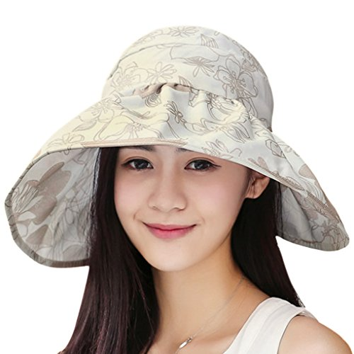JIAHG Womens Large Brim Sunhat Golf Tennis Trucker Cap Bucket Hat Summer Outdoor Travel Beach Sun Hat Visor UPF 50+ Holiday Seaside Beach Fishing Sunscreen Sun Hat Girl Lace Floral Foldable (Beige') - Golf Screen Print Cap