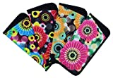 4 Pack Soft Slip In Eyeglass Case For Women, Fun Daisy Design, Color Assortment