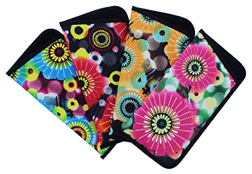 4 Pack Soft Slip In Eyeglass Case For Women, Fun Daisy Design, Color Assortment -