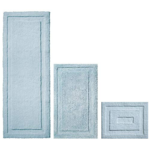 mDesign Soft Microfiber Non-Slip Bathroom Mat/Rug for Bathroom, Vanity, Bathtub/Shower, Dorm Room - Set of 3, Water Blue - Bath Set Waters Blue