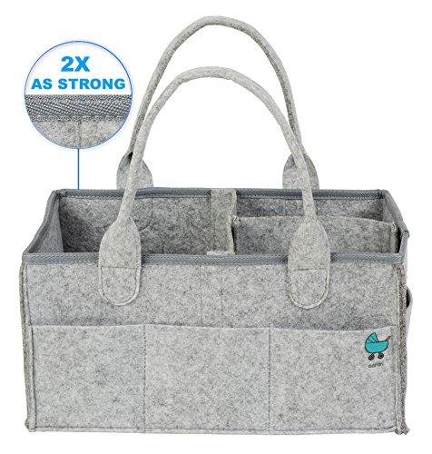 Baby Diaper Caddy Organizer - Large Nursery Storage Bin and Car Organizer - Durable Portable Baby Registry Gift