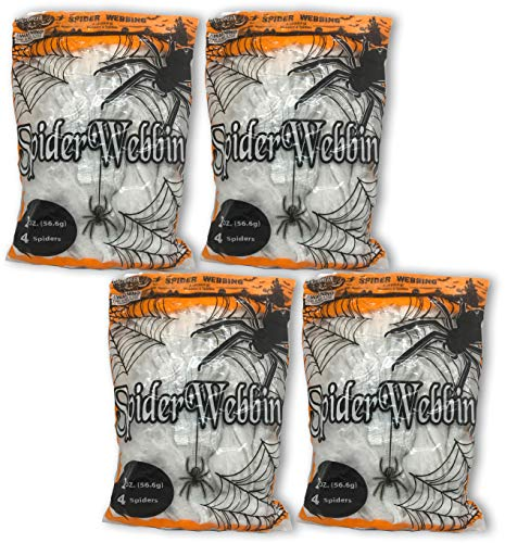 Black Duck Brand Set of 8 Ounces of Super Stretchy Spider Web! with Spiders! Covers 800 sq ft! Halloween Indoor/Outdoor Decoration! ()